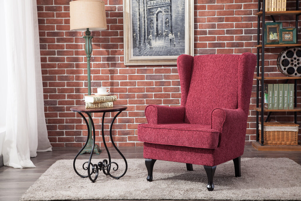 Windsor Red Fabric Wing Back Chair